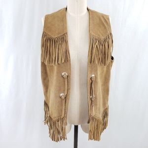 Vintage Tan Suede Fringe Concho Vest